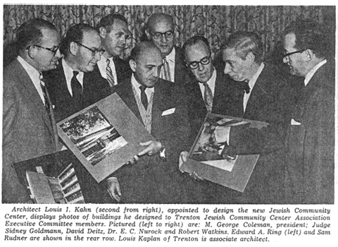 """A site for the new center is purchased in Ewing Township, a suburb of Trenton. Louis I. Kahn is hired as architect for the project. Louis Kaplan is named """"associate architect."""""""